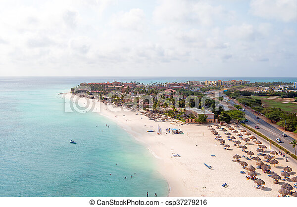 Aerial at Manchebo beach on Aruba island in the Caribbean - csp37279216