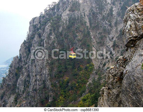 Aerial cableway in  Crimea mountains. Ukraine  - csp8681390