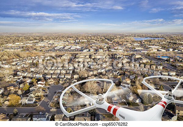 aerial cityscape from a drone - csp65076282