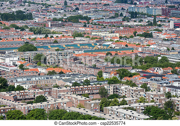 Aerial cityscape residential area of The Hague, The Netherlands - csp22535774