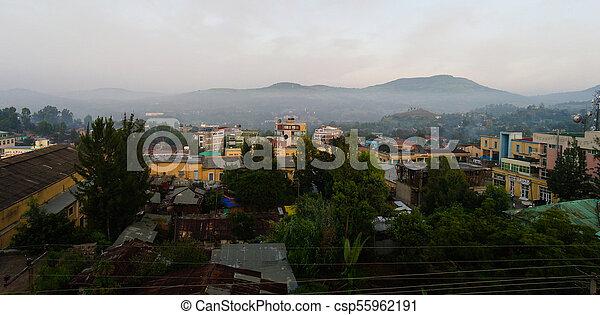 Aerial cityscape view to Gondar city, Ethiopia