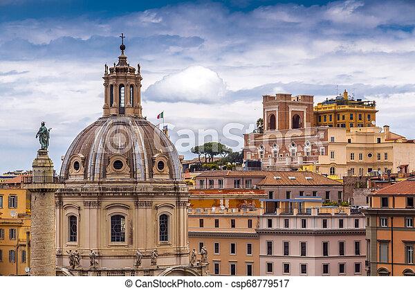 Aerial cityscpae from Vittoriano in Rome - csp68779517