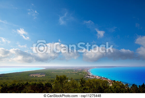Aerial formentera view with north and south beach - csp11275448