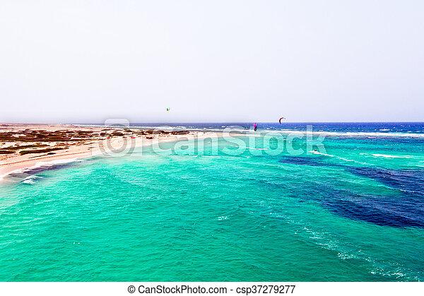 Aerial from Boca Grandi beach on Aruba island in the Caribbean Sea - csp37279277