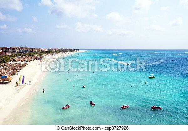 Aerial from Eagle beach on Aruba island in the Caribbean - csp37279261