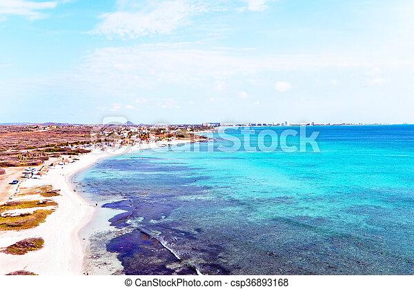 Aerial from Malmok beach on Aruba island in the Caribbean - csp36893168