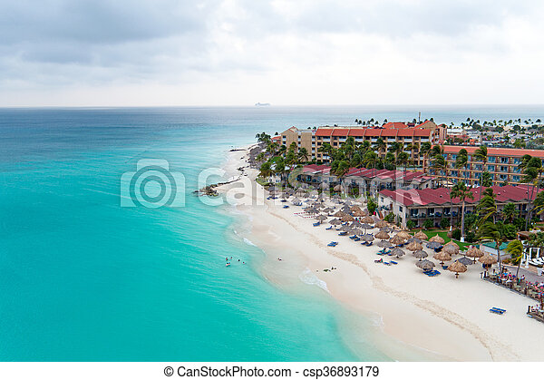Aerial from Manchebo beach on Aruba island in the Caribbean - csp36893179