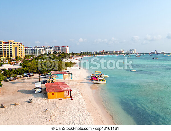 Aerial from Palm Beach on Aruba island in the Caribbean Sea - csp48161161