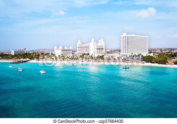 Aerial from Palm Beach on Aruba island in the Caribbean Sea - csp37664430