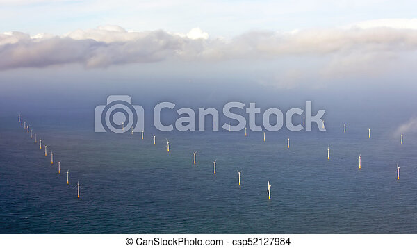 Aerial from wind turbines on the North Sea in the Netherlands - csp52127984