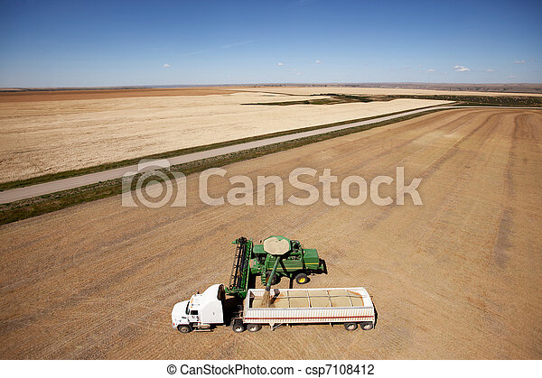 Aerial Harvest on the Prairie - csp7108412