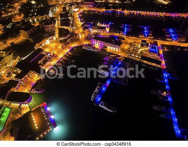 Aerial night view of Limassol Marina - csp34348916