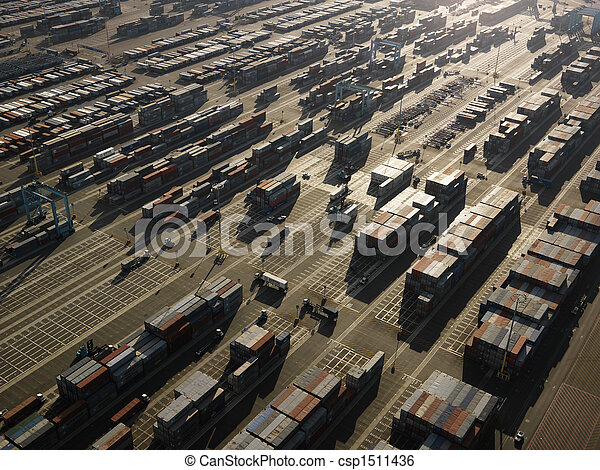 Aerial of cargo containers. - csp1511436