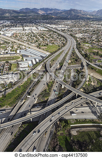 Aerial of Golden State 5 and 118 Freeway Interchange in Los Angeles - csp44137500