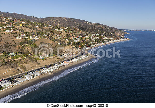 Aerial of Homes and Mountains on the Malibu California Coast - csp43130310