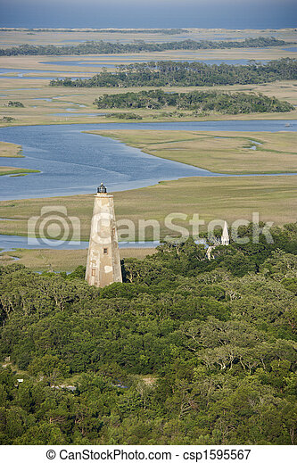 Aerial of lighthouse. - csp1595567