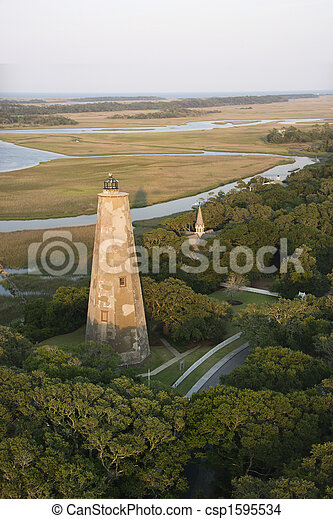 Aerial of lighthouse. - csp1595534