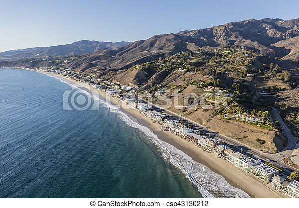 Aerial of Los Angeles County Beach Houses - csp43130212