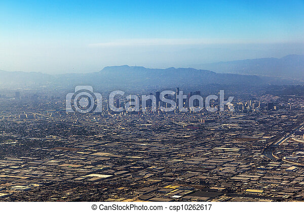 aerial of Los Angeles in fog - csp10262617