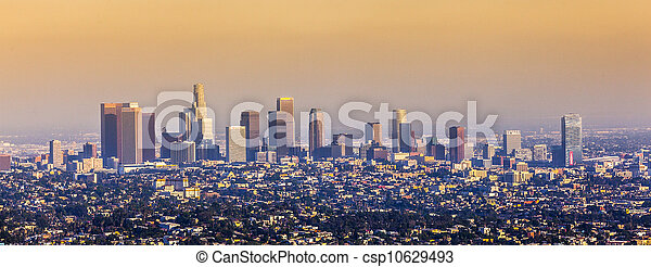 aerial of Los Angeles in sunset - csp10629493