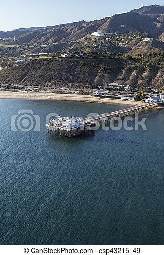 Aerial of Malibu Pier Near Los Angeles in Southern California - csp43215149