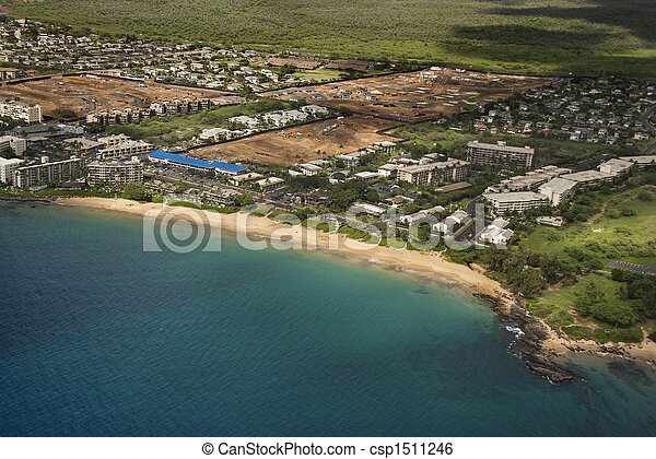 Aerial of Maui coast. - csp1511246