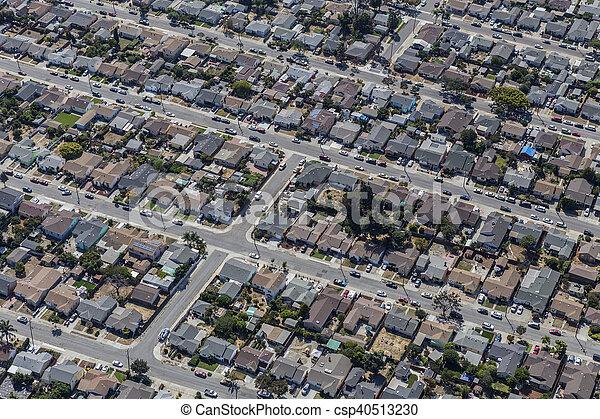Aerial of Middle Class Neighborhood near Oakland California - csp40513230