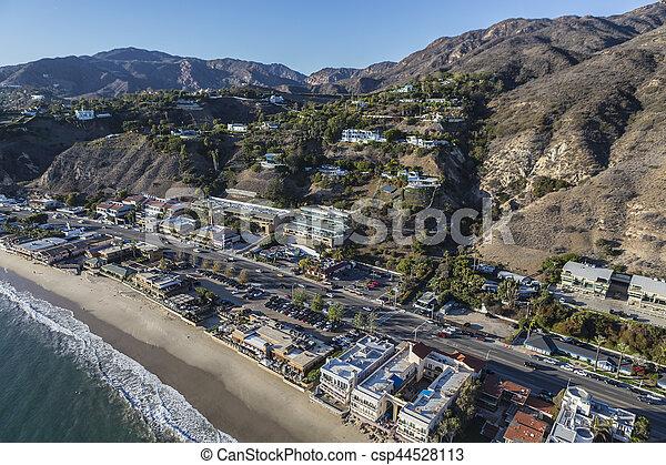 Aerial of Pacific Coast Highway in Malibu California - csp44528113