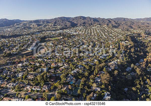 Aerial of Pacific Palisades Neighborhood in Los Angeles California - csp43215546