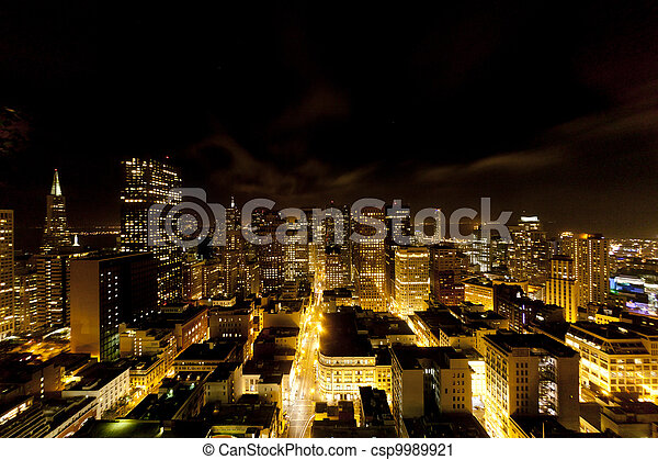 aerial of San Francisco by night - csp9989921