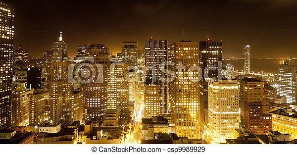 aerial of San Francisco by night - csp9989929
