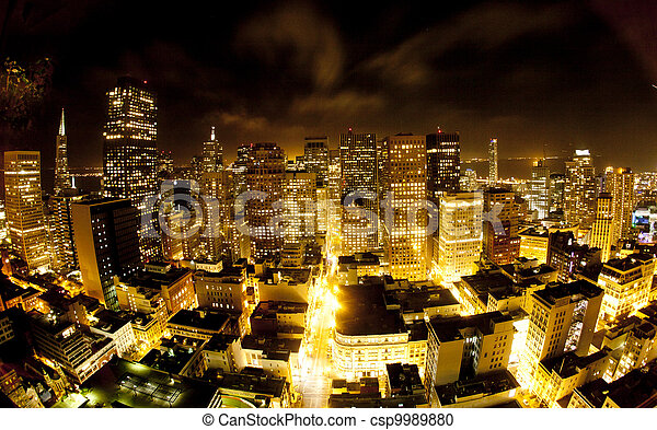 aerial of San Francisco by night - csp9989880