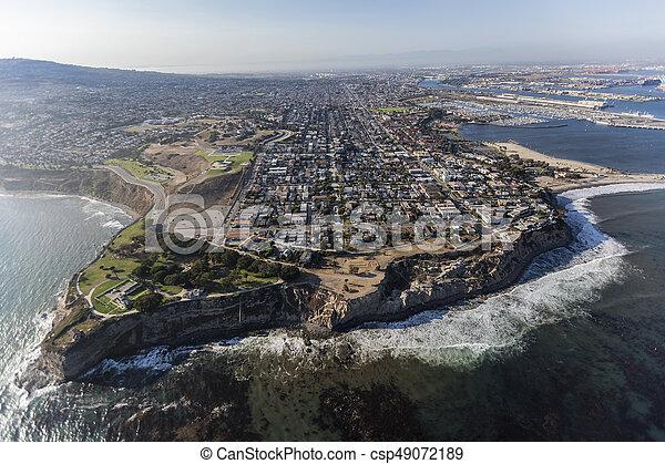 Aerial of San Pedro in Los Angeles California - csp49072189