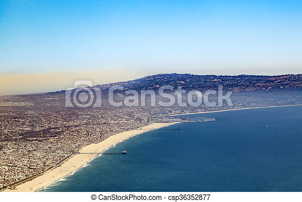 aerial of the beach in Los Angeles - csp36352877