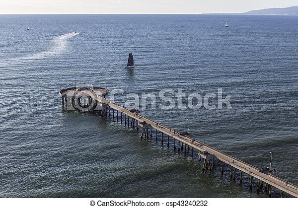 Aerial of Venice Pier in Los Angeles California - csp43240232