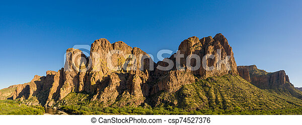 Aerial panorama of a rock formation in the desert of Arizona - csp74527376