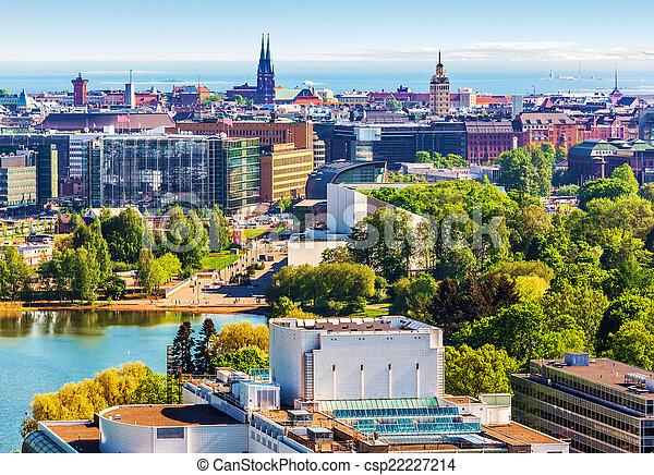 Aerial panorama of Helsinki, Finland - csp22227214