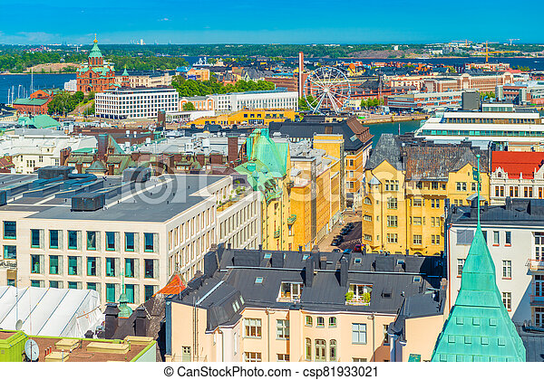 Aerial panorama of Helsinki, Finland. Cityscape in a sunny summer day - csp81933021