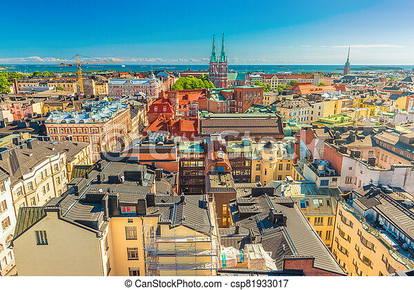 Aerial panorama of Helsinki on a summer day with the clear blue sky, Finland - csp81933017