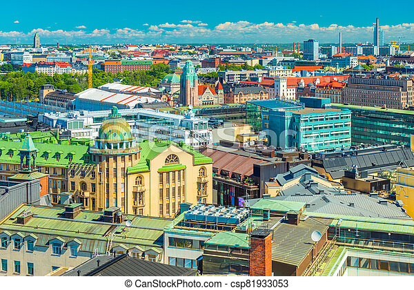 Aerial panorama of Helsinki on a summer day, Finland - csp81933053
