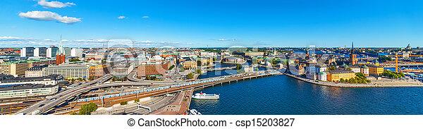 Aerial panorama of Stockholm, Sweden - csp15203827