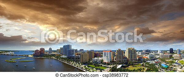 Aerial panoramic view of West Palm Beach, Florida. Sunset skyline - csp38983772