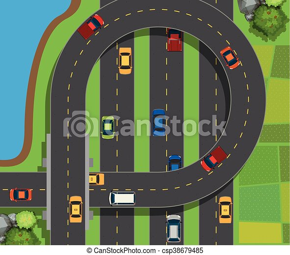 Aerial scene with cars on road illustration vector - Search Clip Art ...