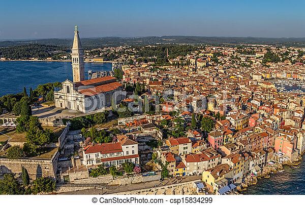Aerial shoot of Rovinj, Croatia - csp15834299