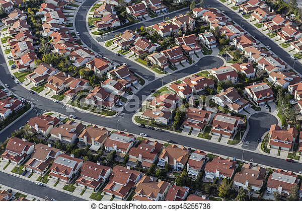 Aerial Southern California Suburban Homes - csp45255736