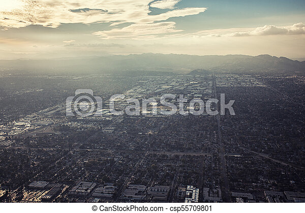 Aerial sunset view of Los Angeles, California - csp55709801