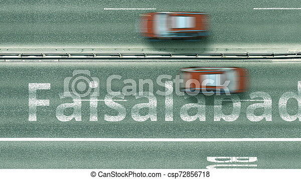 Aerial top-down view of the road. Cars reveal Faisalabad text. Travel to Pakistan 3D rendering - csp72856718
