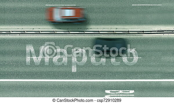 Aerial top-down view of the road. Cars reveal Maputo text. Travel to Mozambique 3D rendering - csp72910289