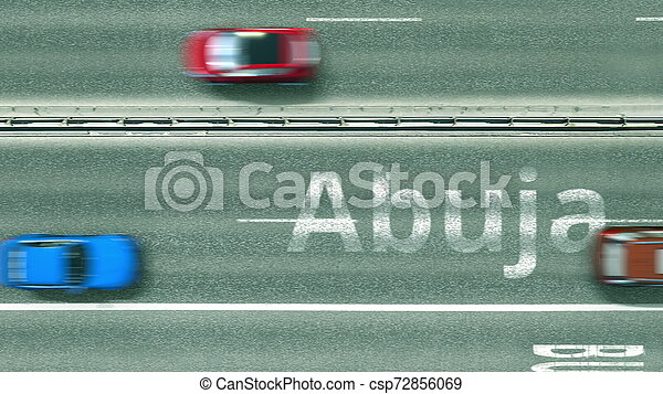 Aerial top-down view of the road. Cars reveal Abuja text. Travel to Nigeria 3D rendering - csp72856069