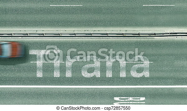 Aerial top-down view of the road. Cars reveal Tirana text. Travel to Albania 3D rendering - csp72857550